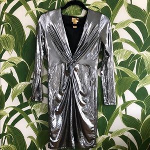 H&M Silver bodycon plunging dress